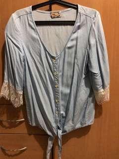 Hippie denim tie-up blouse