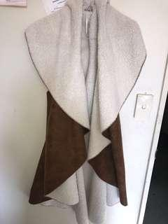 Brown Sleeveless wool wrap coat