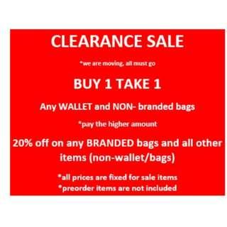 CLEARANCE SALE wallets, bags and all  items