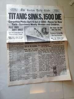Titanic Sinks (Old News Paper from US in 1912)