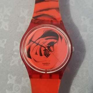 Authentic Swatch 41mm Watch Red Rose