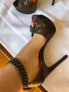 Chocolate snakeskin peep toe