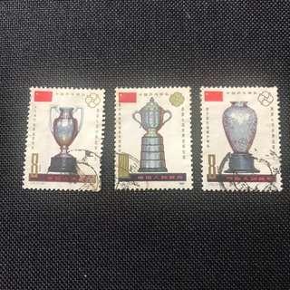 中國郵票 J71 中國乒乓球隊 三枚 蓋銷票