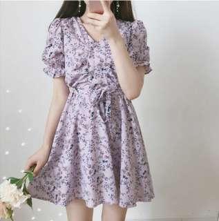 🚚 正韓紫色小碎花綁帶洋裝