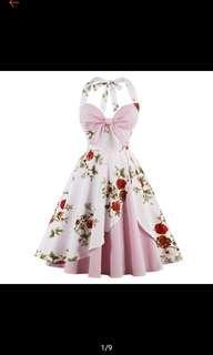 Floral halter bow type pink princess dress