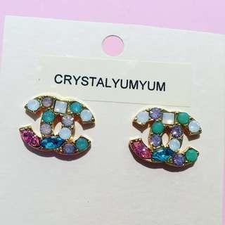 Pastel Crystal Double CC stud earrings