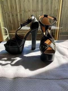 Black leather strappy heels