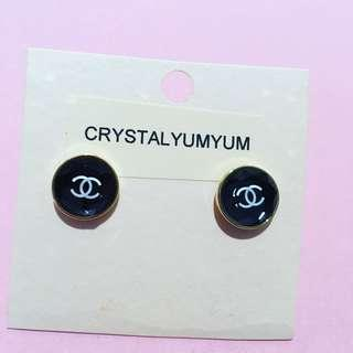 Double CC CHANEL Inspired Black round stud glass crystal earrings