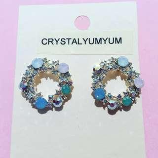 Pastel crystal floral round stud earrings