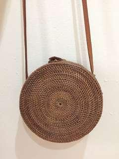 Bali rattan sling bag (medium size)