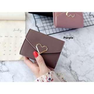 Purple Korean Style Heart Small Wallet