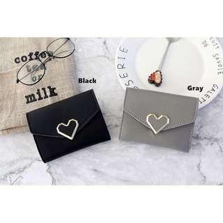 Black Korean Style Heart Small Wallet