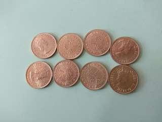 香港1978年一毫,一角錢幣8個
