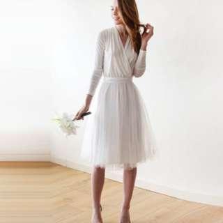 結婚/pre-wedding 白色長袖連身紗裙