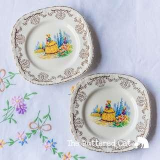 TWO vintage crinoline lady English tea plates [ SET B, one piece with crazing ]