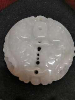 Double Sided White Jade Pendant - Double Prosperity Fish