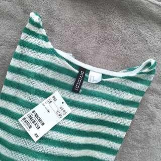BNWT H&M stripes top GREEN