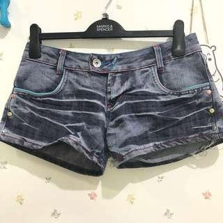 Jeans short pants zipper