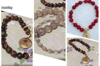 tigers eye, coral & citrine gemstones with st. benedict medal