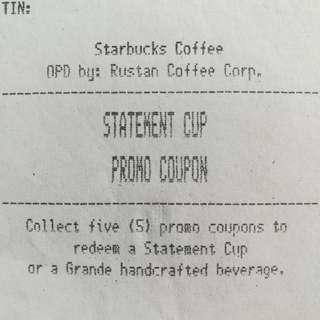Starbucks Statement Cup Promo Coupon (1pc)