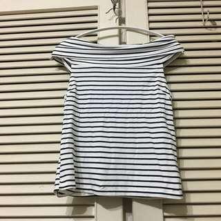 🚚 【售/換】⏰全面出清⏰條紋彈性一字領上衣#可換物#半價衣服拍賣會