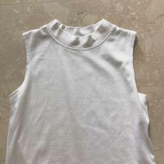 basic plain white high neck crop