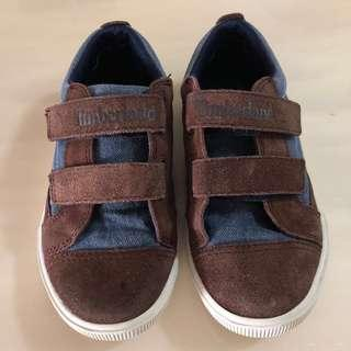 👟TIMBERLAND👟 Authentic Boys' Velcro Denim Brown Toddlers/ Children/ Kids Shoes/ Sneakers (Size: US13/ UK12.5/ EU31)