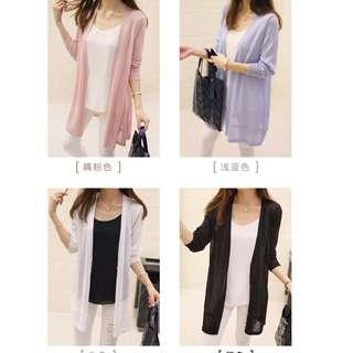 🚚 Sun Protection/ or wear it to keep warm/ Long-sleeved Knit cardigan loose thin coat from size S to 3XL (Pre-Order)