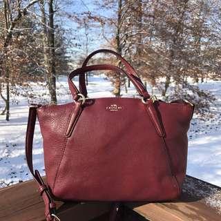 COACH mini Kelsey pebble leather satchel in crimson