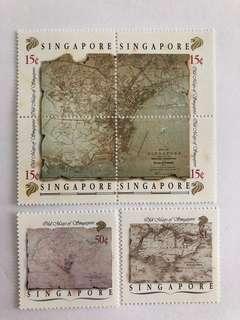 Singapore 1989 Old map of Singapore mnh