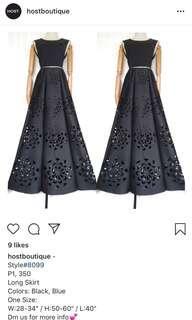 Neoprene Cutout Maxi Skirt, Fs, New