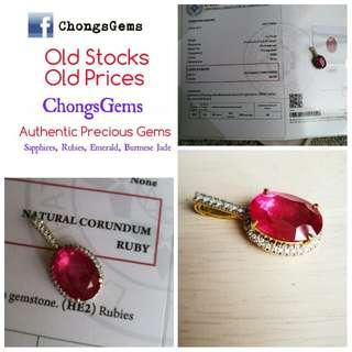 11.74 carats ruby set in 18k gold pendent