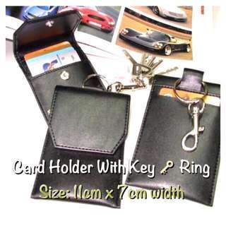 🚚 Card holder with Key Ring/@S$3.50/Artificial Leather/Free Local Mail
