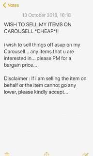 Wish to sell my items cheap