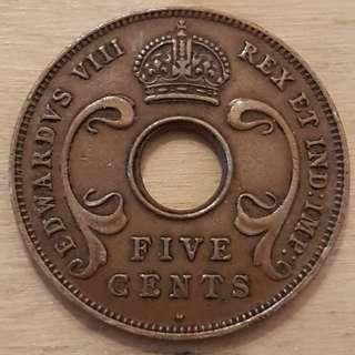 1936 East Africa King Edward VIII 5 Cent Coin