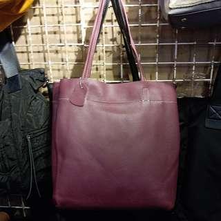 E532 羊皮側背中袋 Leather Handbag 真皮袋 女裝袋