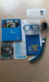 潛水未鏡+snorkel,連初級潛水課程書一套(未鏡300度迎視或平光)