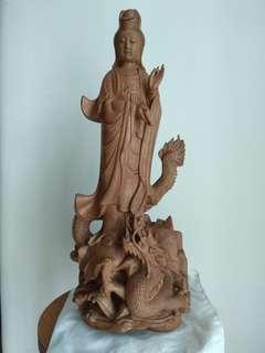 Buddha Statue 18寸木雕乘龍观音 檀木類