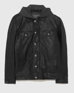 Zara Man Faux Leather Denim-Style Jacket