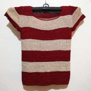 Red & Nude Knitted Top
