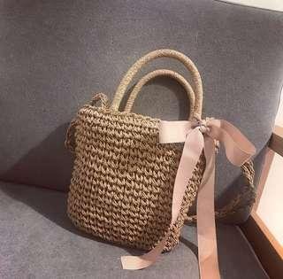 Straw Bag with ribbon