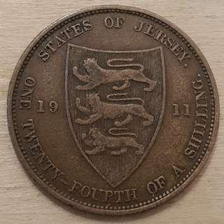1911 States of Jersey Great Britain King George V 1/24 Shilling (Half Penny) Coin