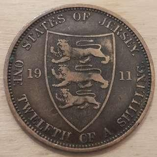 1911 States of Jersey Great Britain King George V 1/12 Shilling (Penny) Coin