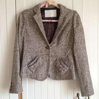 🚚 降價↓日牌LIZ LISA彩色灰編織彩色千鳥格紋 學院風扣子 口袋蝴蝶結西裝領外套