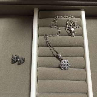 Pandora necklace and earings set