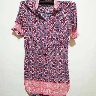 Pink patterned waist-tied dress