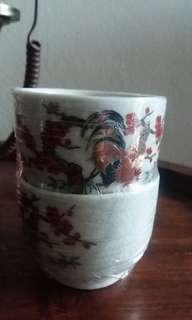 Vintage Double Rooster Happiness Cup #POST1111