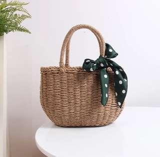 Basket Straw Bag with ribbon