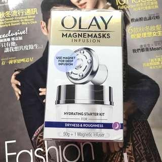 送LEADERS INSOLUTION Aquaringer Skin Clinic Mask 高效補濕修復面膜1片* OLAY 微磁導入水潤面膜