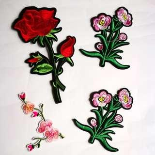 Floral Embroidery Iron On Patches